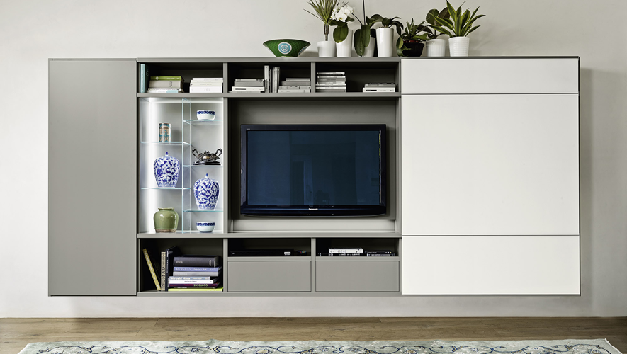 Sangiacomo-MODO hangend Tv meubel schuifpaneel rechts