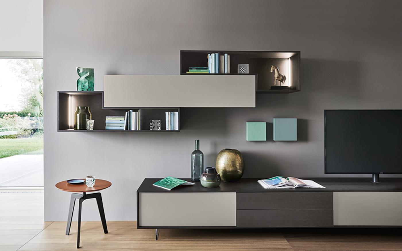 Sangiacomo_LAMPO Tv-meubel met hangende elementen