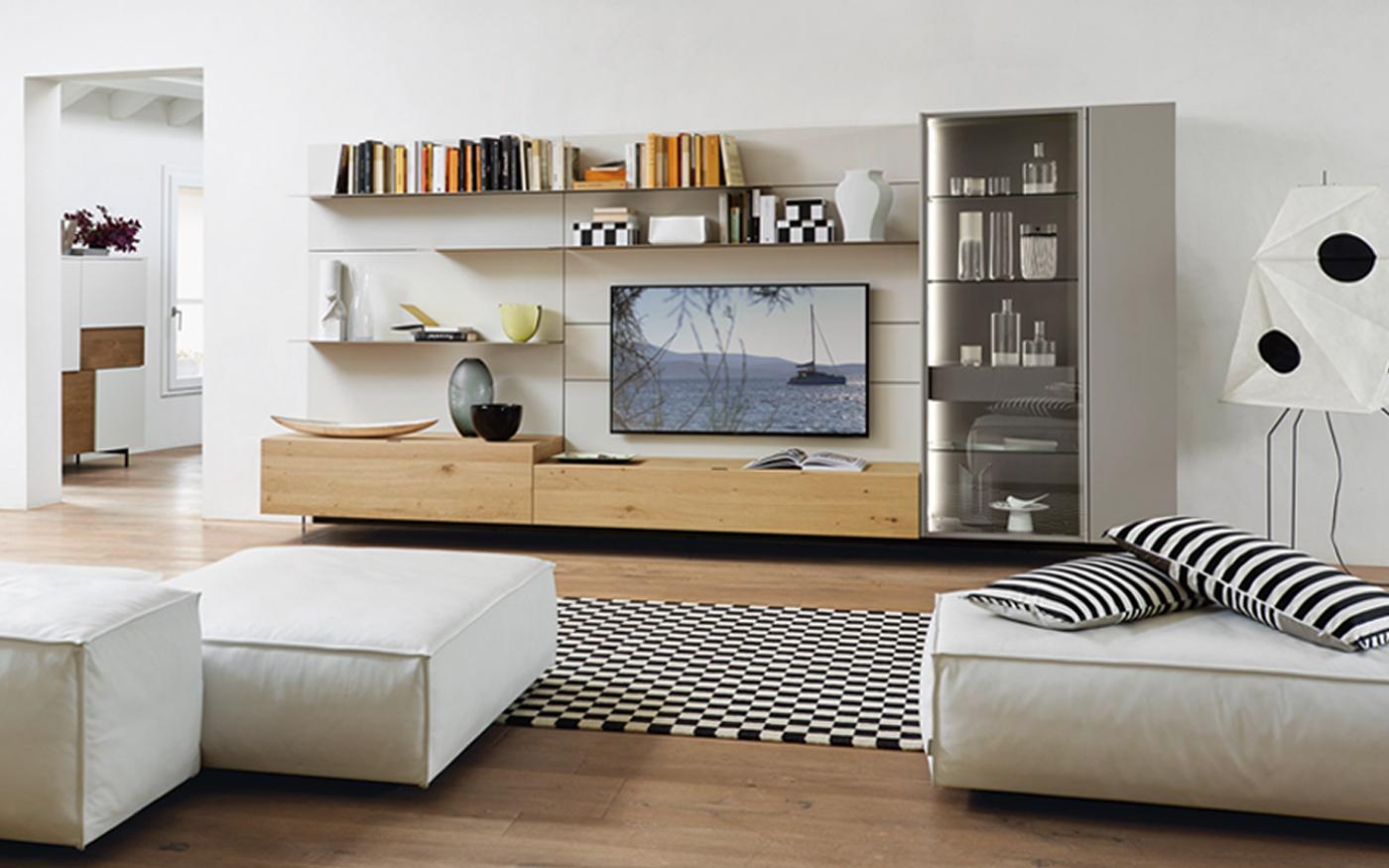 Sangiacomo_LAMPO Tv-wandmeubel utra dunne boekenplanken