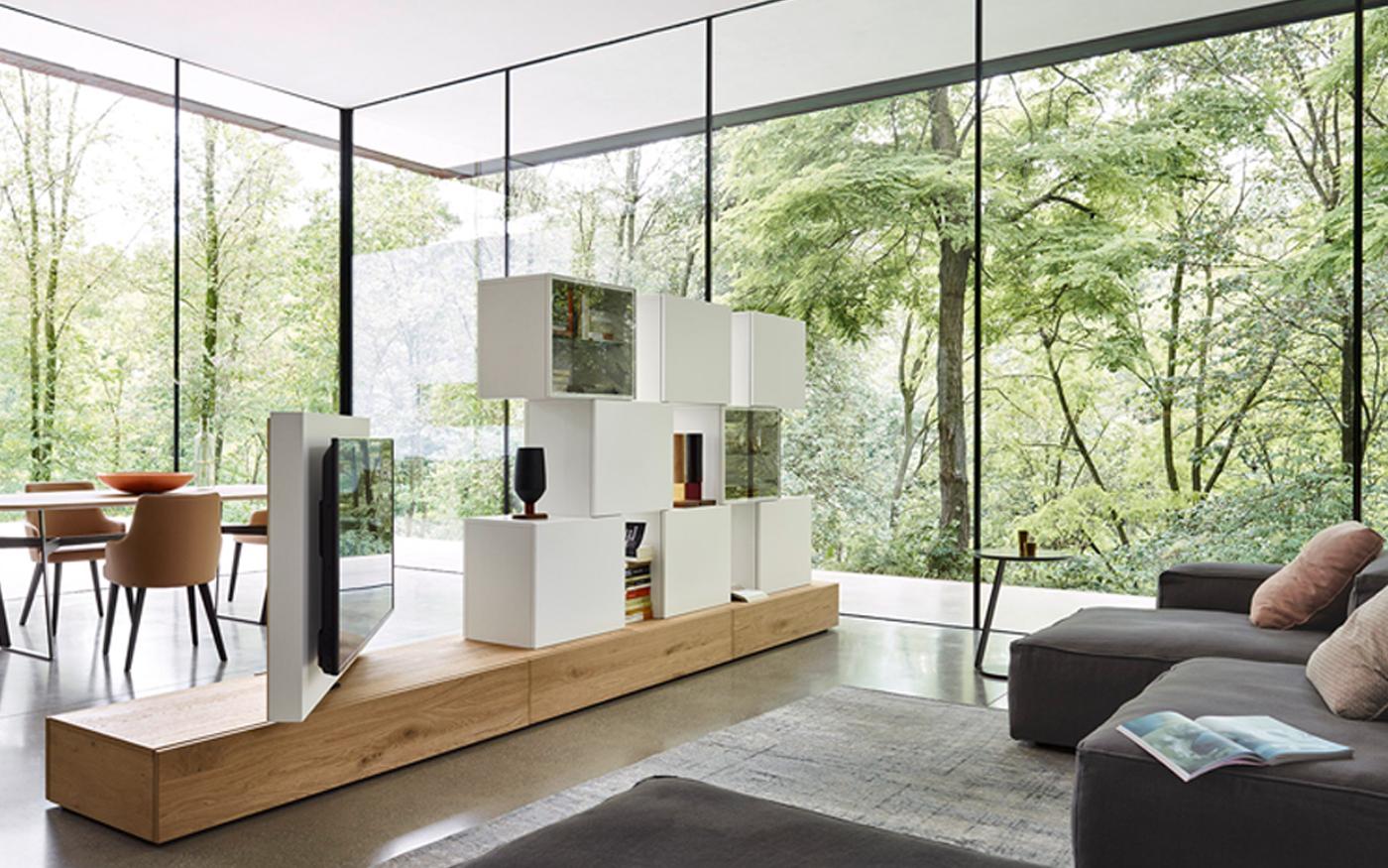 Sangiacomo_LAMPO Tv-meubel roomdivider met glasdeuren