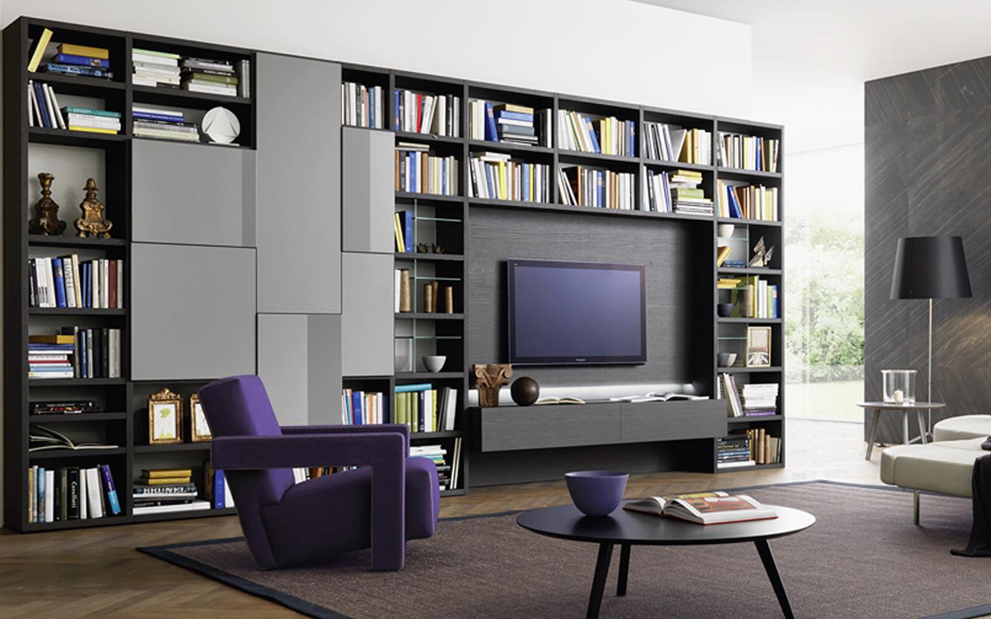 Sangiacomo_MODO Tv-wandmeubel en boekenkast