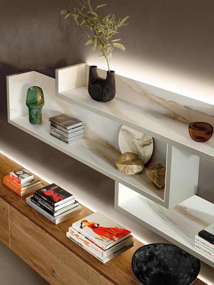 detail muur elementen met LED-verlichting